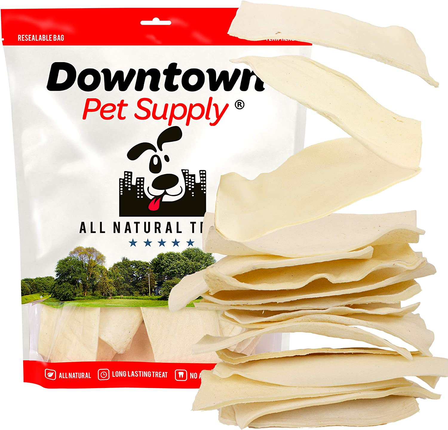 Downtown Pet Supply All Natural Rawhide Bulk Chew Treats, Long Lasting, Large Thick Cut Beef Rawhide Chips (3