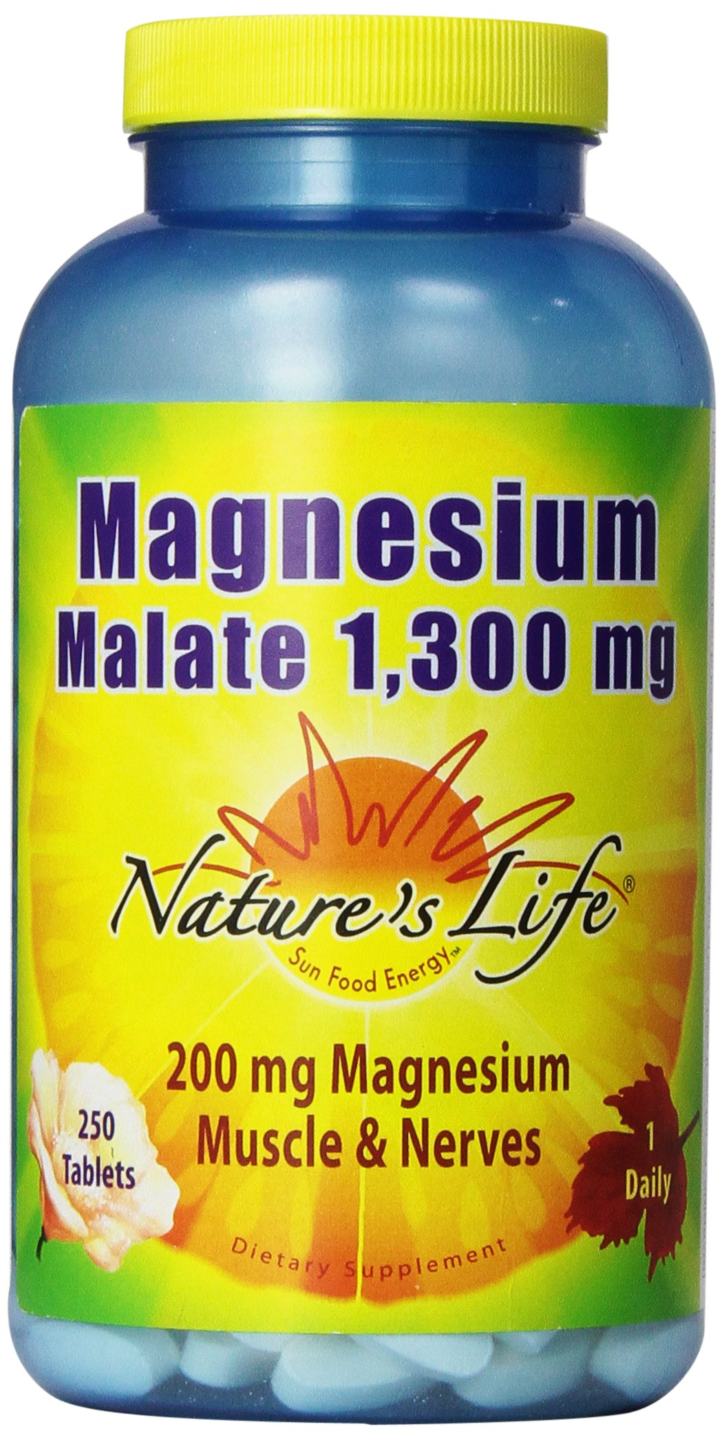 Nature's Life Magnesium Malate Tablets, 1300 Mg, 250 Count