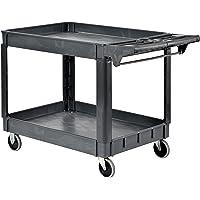 Sandusky PUC254635-2 Shelves, Heavy Duty Plastic Utility Cart, 33