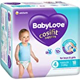 BabyLove Cosifit Nappies, Size 4 (9-14kg), 72 Nappies (4x 18 pack)