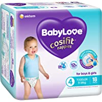 BABYLOVE Cosifit Toddler Nappies 9-14kg (18 Pack x 4), Toddler, 72 Count