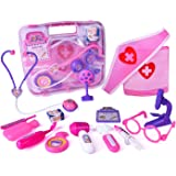 FUN LITTLE TOYS Doctor Kit for Kids, Pretend Play Pink Medical Kit for Girls and Toddlers, 15 pcs