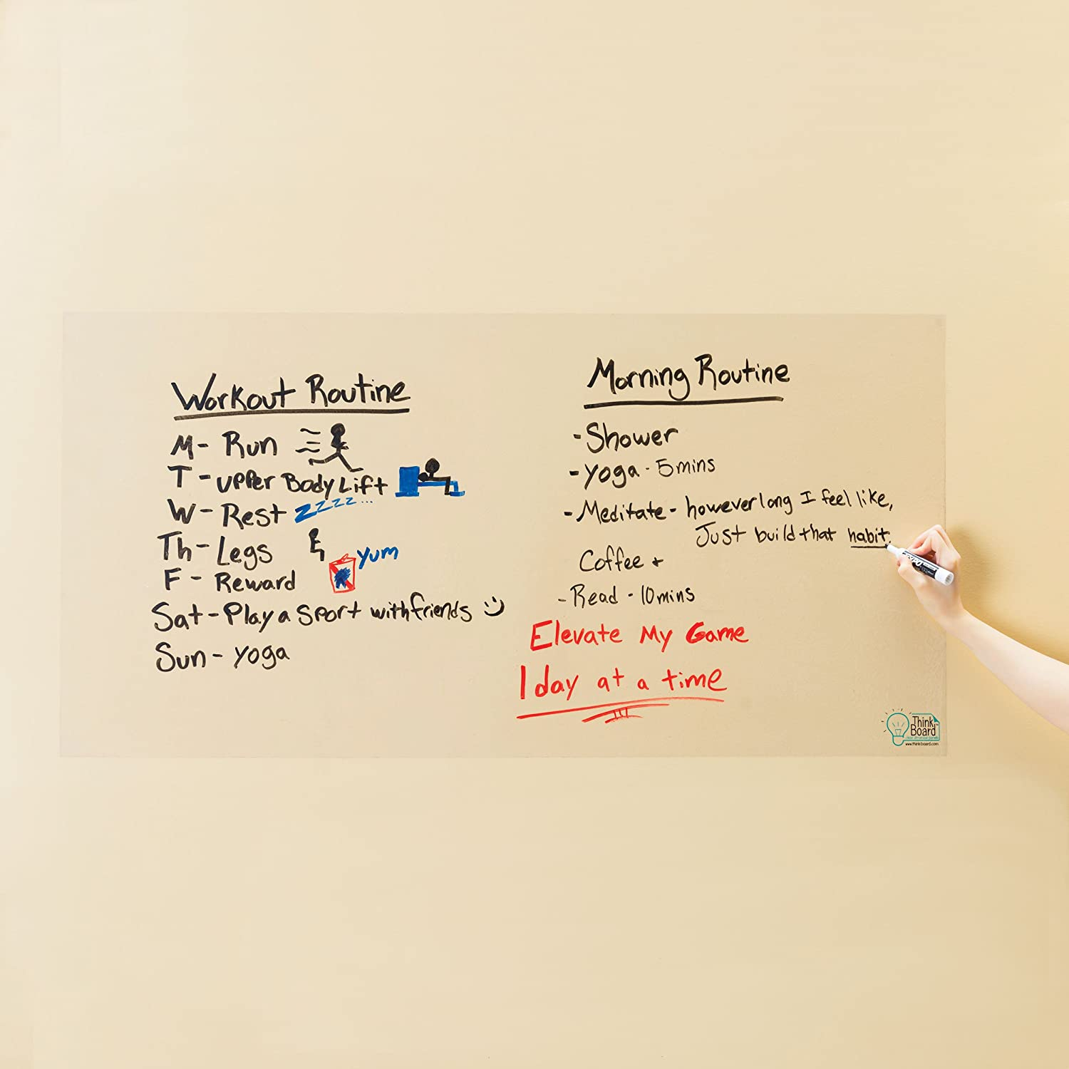 Think Board Whiteboard Wall Sticker – Self-Adhesive Clear Medium Peel & Stick Decal – Dry Erase Removable Message Board for Home, Office & Dorms – Great for Organizing & Brainstorming– 2' x 4'