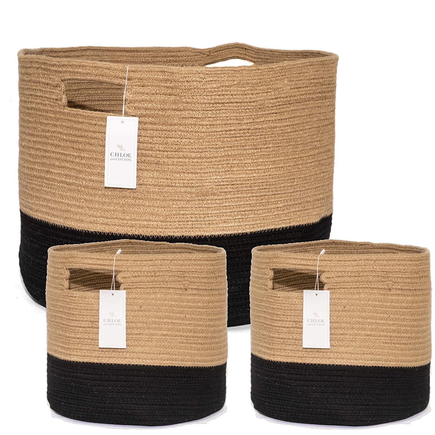 Chloe and Cotton Woven Coiled Rope Storage Baskets XXXL 15 x 21 inch and Set of 2 Cubby Baskets Jute Black Handles | Decorative Laundry Clothes Hamper, Blanket, Towel, Baby Nursery Bin Cute Organizer