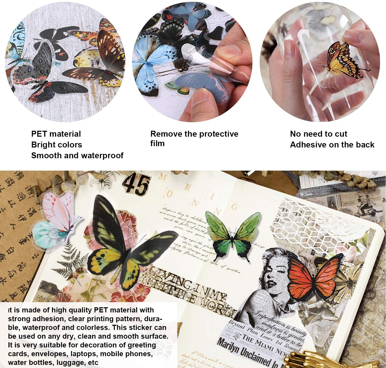 160 Vintage Butterfly Scrapbook Stickers Set DIY Decoration Butterfly Stickers Butterfly Resin for Envelope Scrapbook Luggage Windows Journals