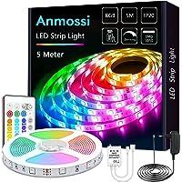 Anmossi LDE Strip 5m,RGB 5050 Veelkleurige Heldere Ledstrip Met Infrarood Afstandsbediening 24 Toetsen,LED strips in 20…
