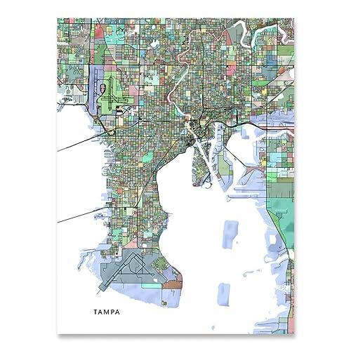 Tampa Florida Usa Map.Amazon Com Tampa Map Print Florida Usa Fl City Street Art
