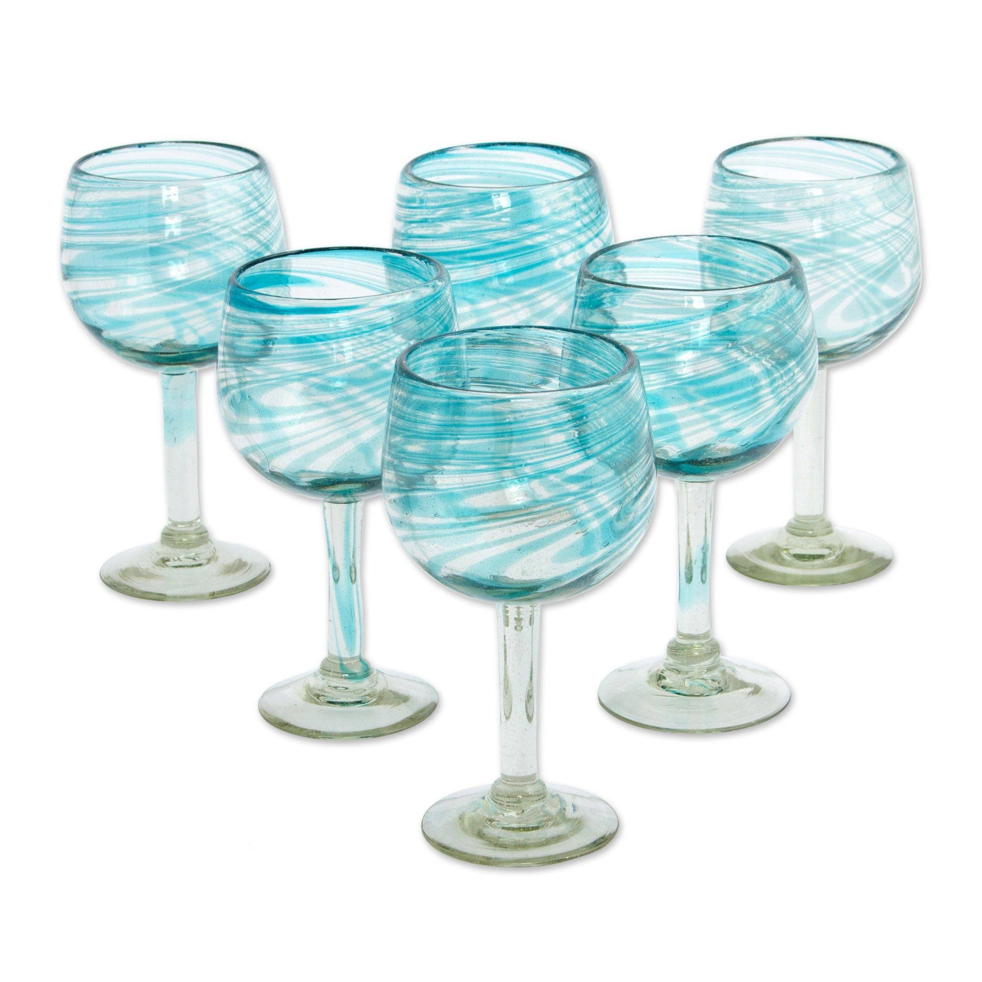 NOVICA 282193 ' 'Elegant Aqua Swirl' Wine Glasses, 7.75''Tall, Blue Clear