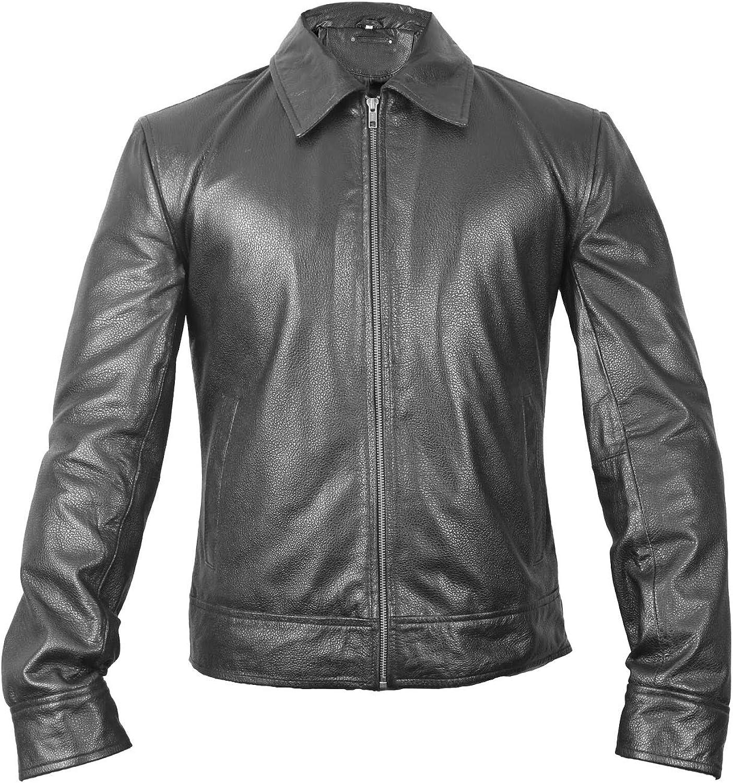 UZ Global Biker Black Motorcycle Leather Jacket Mens Brando Retro Style Genuine Leather