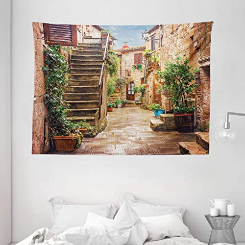 Ambesonne Italian Tapestry, View of Old Mediterranean Street with Stone Rock Houses in Italian City Rural Print, Wide Wall Hanging for Bedroom Living Room Dorm, 80 X 60 , Stone Green