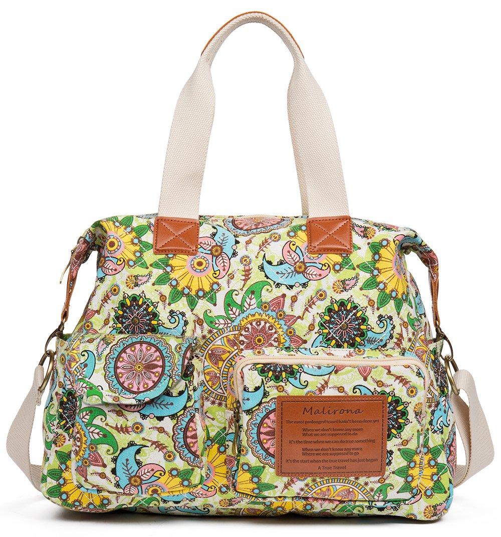 Malirona Canvas Shoulder Bag Travel Handbag Women Top Handle Satchel Crossbody Purse Floral Design