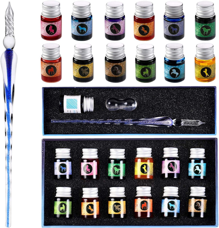 Juego de Pluma de Vidrio de Tinta 15 Piezas Pluma de Cristal de Arcoiris con 12 Botellas de Tinta Colorida para Escritura de Tarjetas de Regalo Firmas Caligrafía