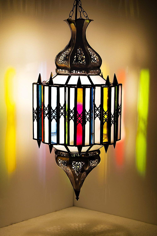 Orientalische Lampe Pendelleuchte Bunt Asham 60cm E27 Lampenfassung   Marokkanische Design Hängeleuchte Leuchte aus Marokko   Orient Lampen für Wohnzimmer Küche oder Hängend über den Esstisch