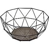 Cesto per la frutta moderno, in metallo nero e legno marrone, 26,5x 25x (A) 12cm