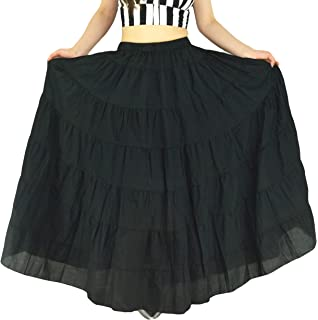 7a3ee1119 YSJERA Women's Cotton 5 Tiered A Line Pleated Maxi Skirt Long Boho Gypsy Dance  Skirts