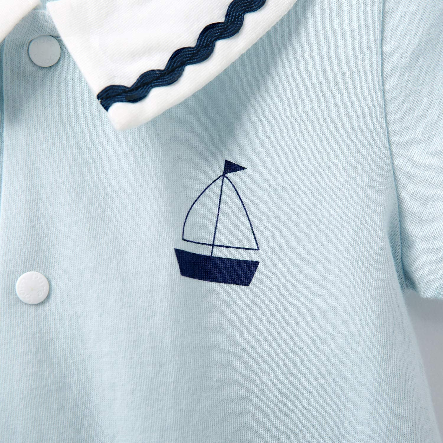 Sailboat in The Sea Newborn Baby No Sleeve Bodysuit Romper Infant Summer Clothing White