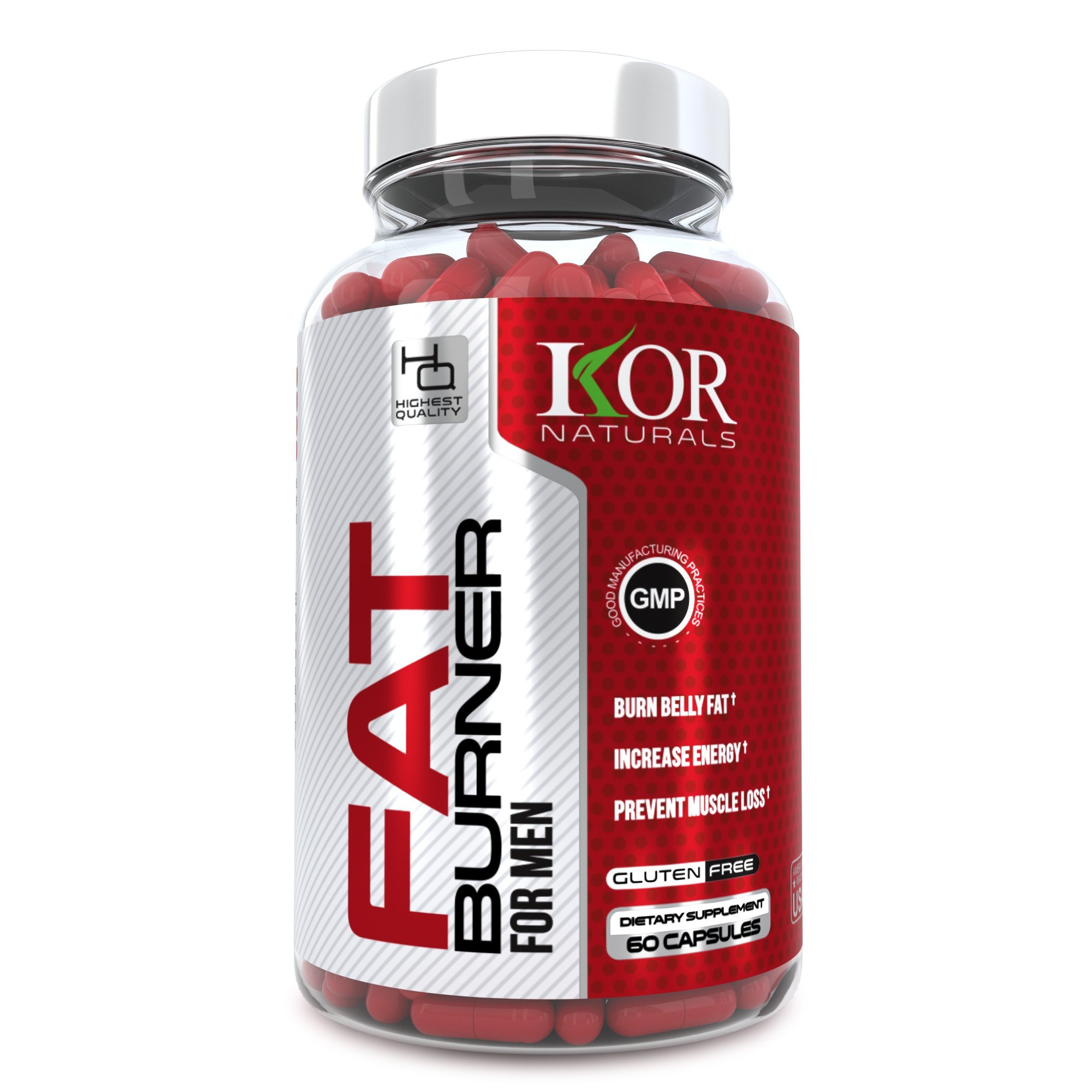 KOR - Thermogenic Fat Burner Pills for Men - Control Your Appetite & Burn Fat with Our Weight Loss Diet Supplement - Guaranteed Results - 60 caps by KOR Naturals