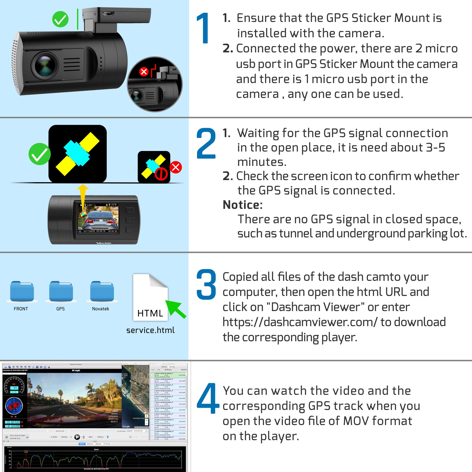 Dual Dash Cam, Veckle Mini 0906 Dual Channel 1080P FHD Dashboard Camera Recorder with GPS, CPL Filter, Sony Night Vision Exmor Sensor, 7 Lens Wide Angle 1.5 inch LCD, Loop Recording Dash Cam for Car by Veckle (Image #9)