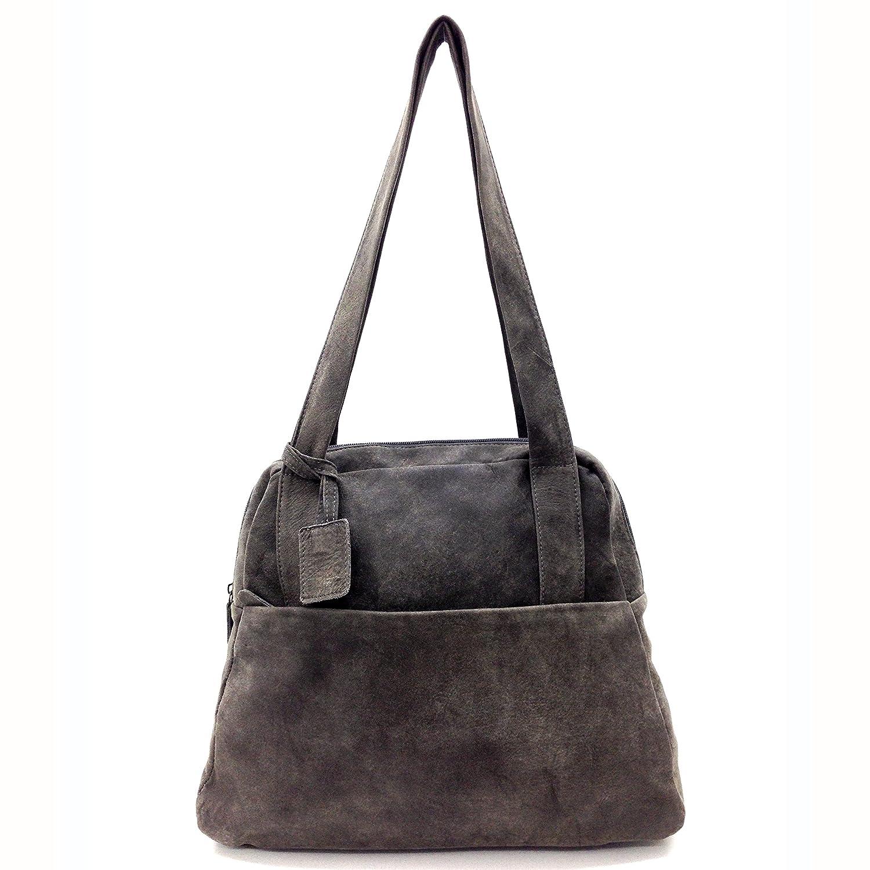 fc7cf75273 Amazon.com  Gray leather handbag front zip pocket Women s bag Handmade  zippered cream purse Beige strap  Handmade