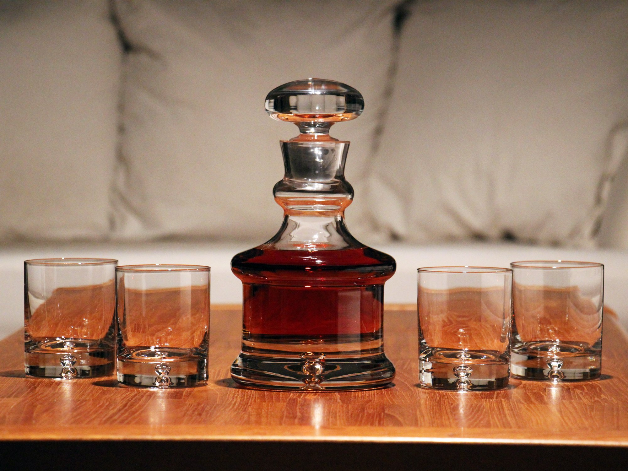 Ravenscroft Crystal 125th Anniversary Larchmont Decanter Gift Set, Includes One (1) 30-ounce Decanter and Four (4) 10.5-ounce DOF Tumbler Glasses.