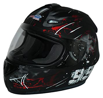 Protectwear Casco de moto negro-rojo 99 FS-801-99R Tamaño S
