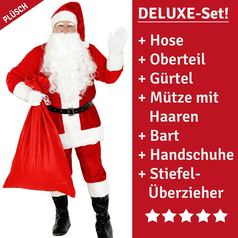 Deluxe Santa Costume costume Santa Claus Santa Claus Santa costume Santa Plush Velour rosso Dimensione M – XXXL