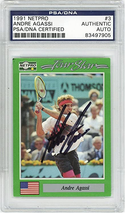 Andre Agassi Tennis Autographed 1991 NetPro #3 Card PSA/DNA - Fanatics Authentic Certified - Autographed Tennis Cards at Amazons Sports Collectibles Store