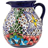 NOVICA Hand Blown Multicolor Floral Ceramic Pitcher, 131 oz. 'Stars And Flowers'
