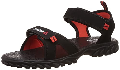 152d18304b77 Reebok Men s Axtrix Black and Carotene Red Flip-Flops and House ...