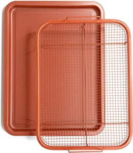 Chef Pomodoro Copper Crisper Tray, Deluxe Air Fry in Your Oven, 2-Piece Set, Baking Pan (Rectangle - Large)