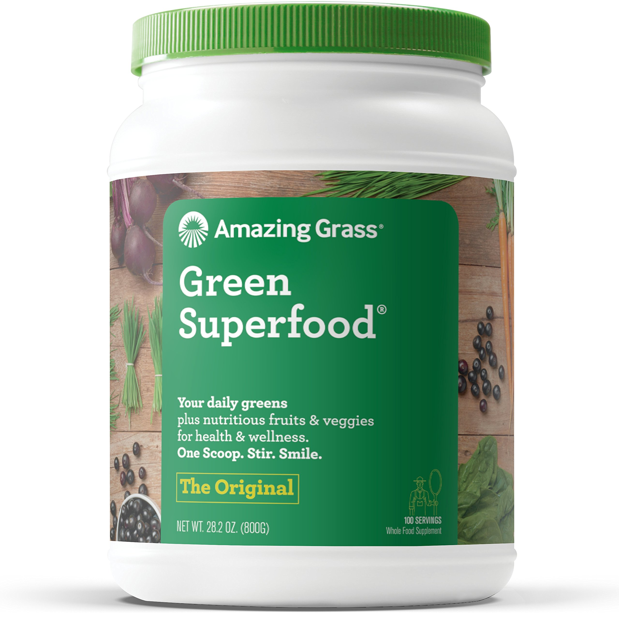 Amazing Grass Green Superfood: Organic Wheat Grass and 7 Super Greens Powder, 2 servings of Fruits & Veggies per scoop, Original Flavor, 100 Servings by Amazing Grass