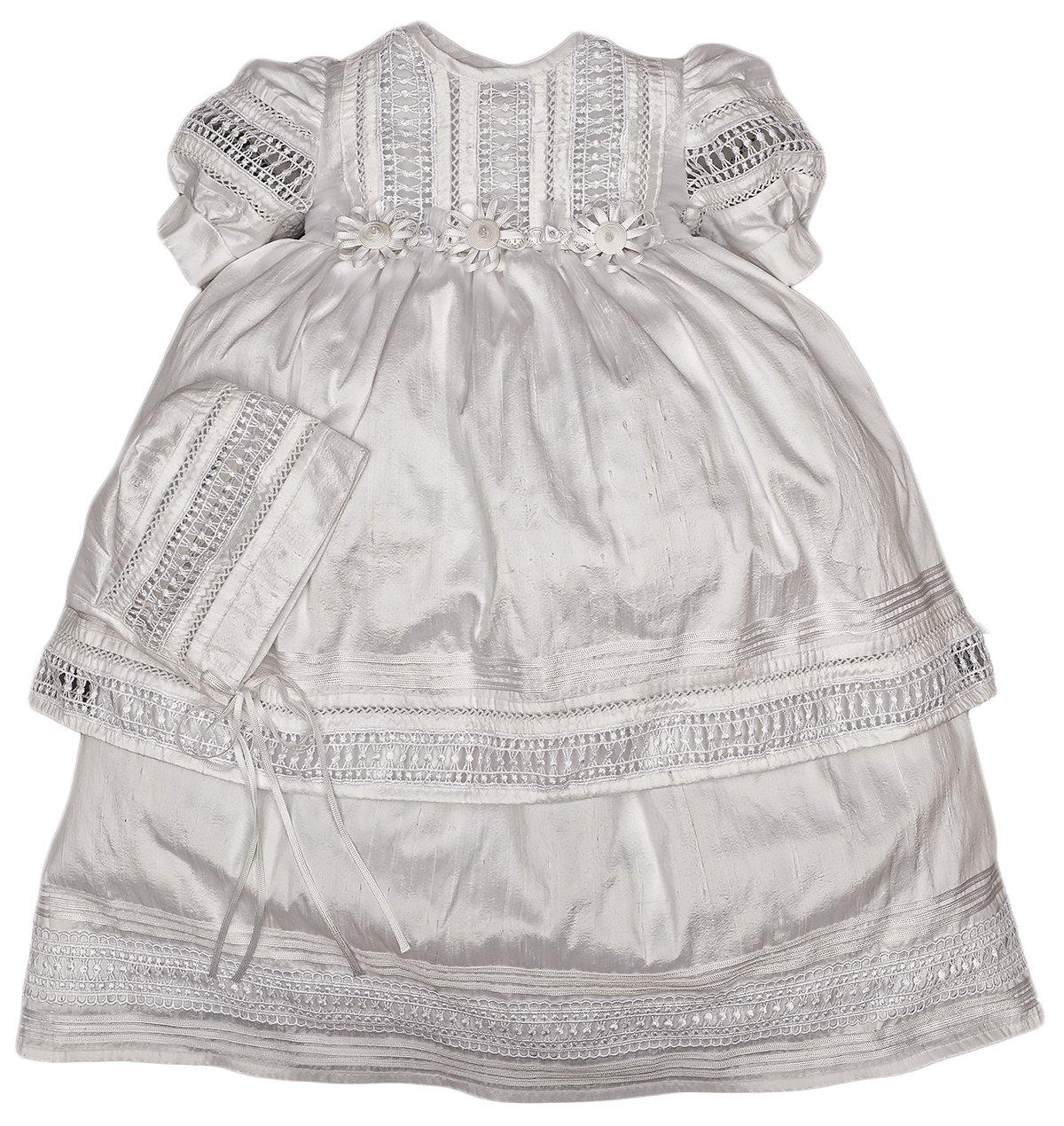 Elegant Baby Girl Christening Baptism Dress - Ivory or White (1-11 Months, White)
