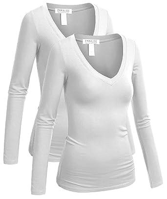 ce17f005936f Emmalise Women's Casual Basic V-Neck Tshirt Long Sleeves Tee Top - 2Pk-White