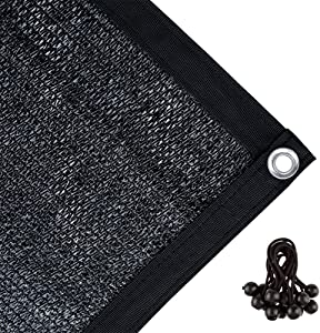 Agfabric 70% Sunblock Shade Cloth with Grommets for Garden Patio 10' X 12', Black