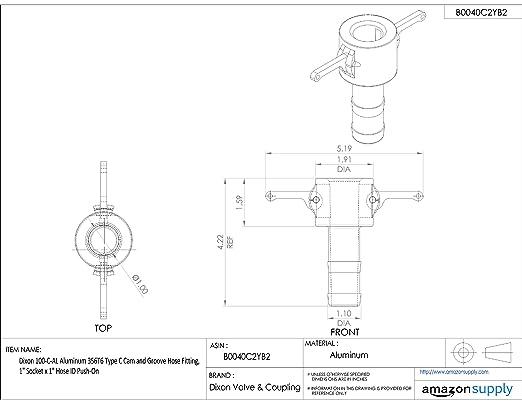 Dixon 600-C-AL Aluminum 356T6 Type C Cam and Groove Hose Fitting 6 Socket x 6 Hose ID Push-On