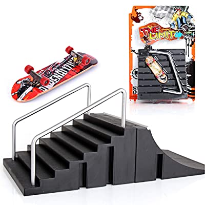 Alasida Mini Finger Skateboard Park Skate Park Kit Ramp Parts Skate Board with Ramp Board for Child and Adult, Random Pattern: Toys & Games