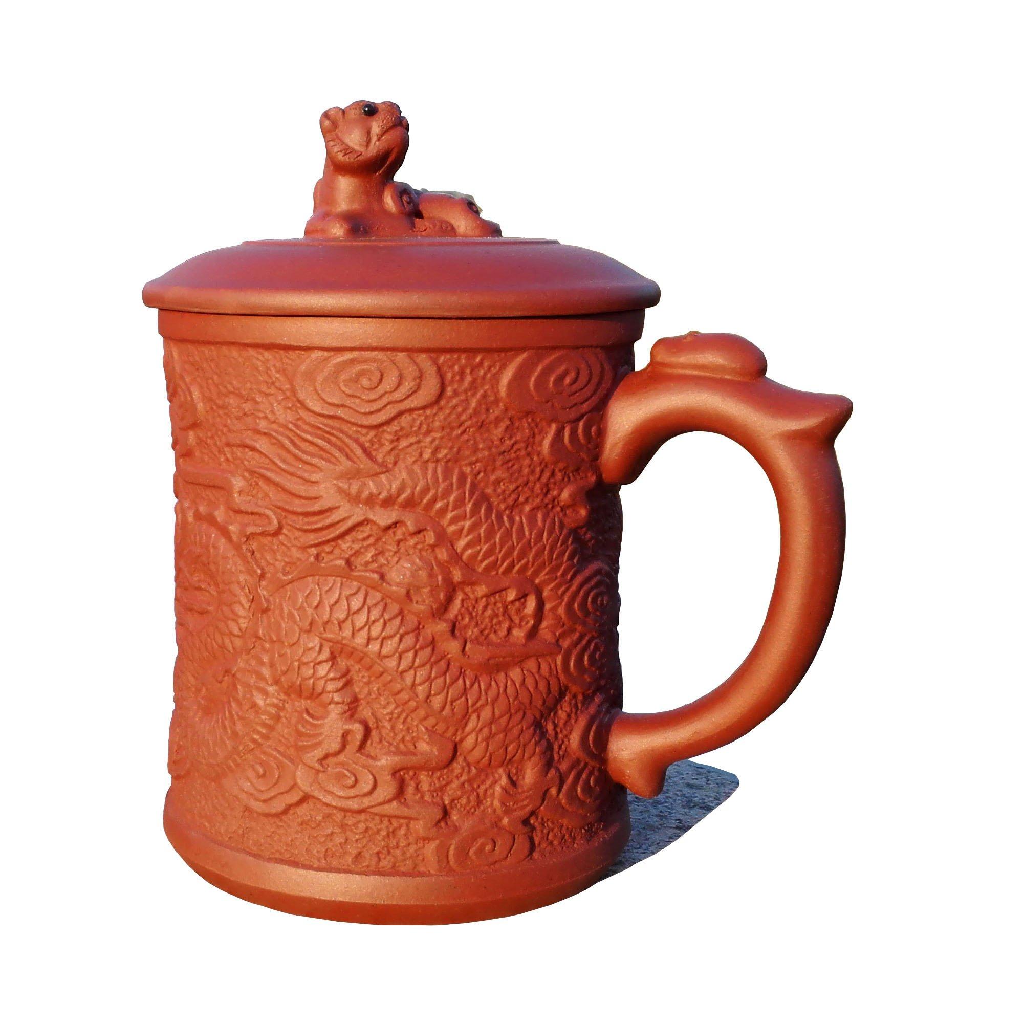 Yixing Teapot Handmade Dragons Tea Cup,Nature Red Clay,500cc