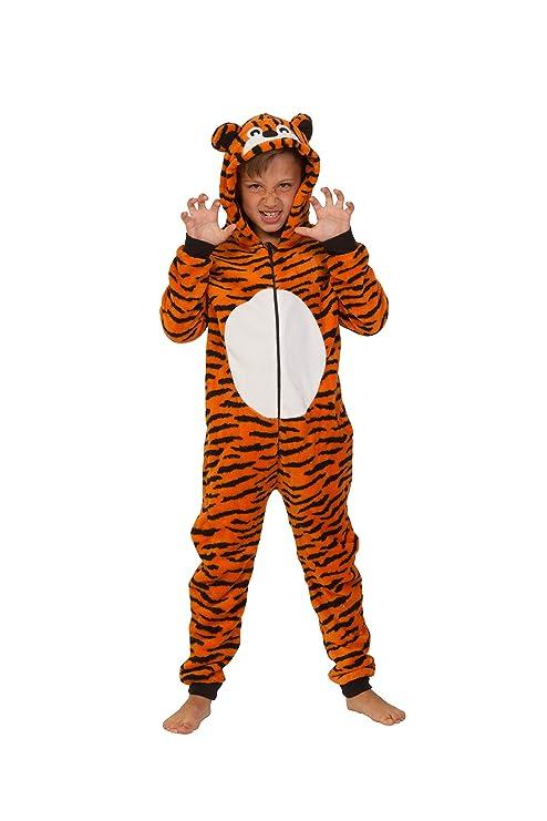 Camille Childrens Unisex Tiger Animal Print All In One Pyjama Sleepsuit