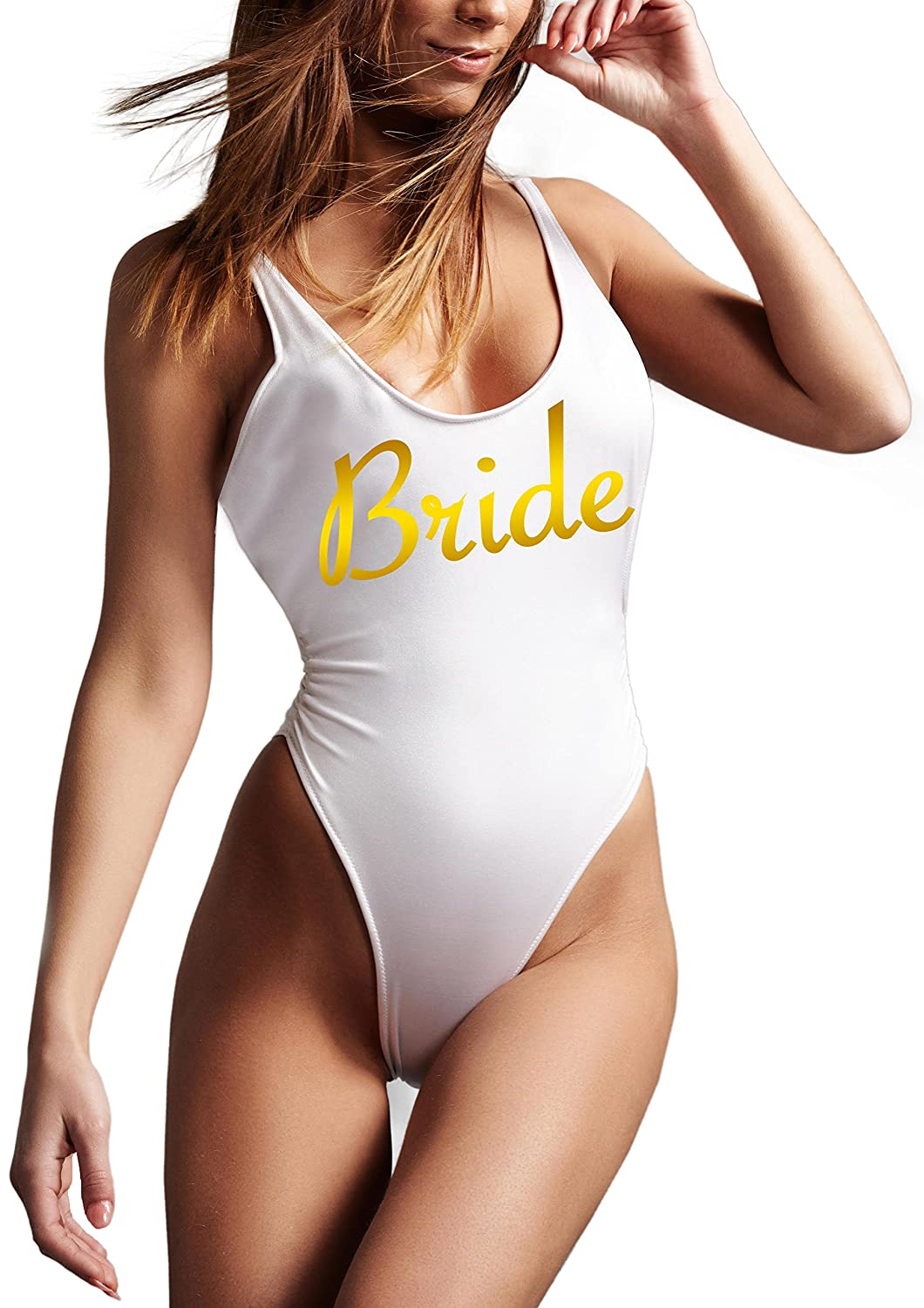 b1bfbd385b8cd White One Piece Swimsuit with BRIDE in Gold foil printing. High Cut Open  Low Back with Padded Cups Perfect for the beach, bachelorette party, bridal  shower- ...