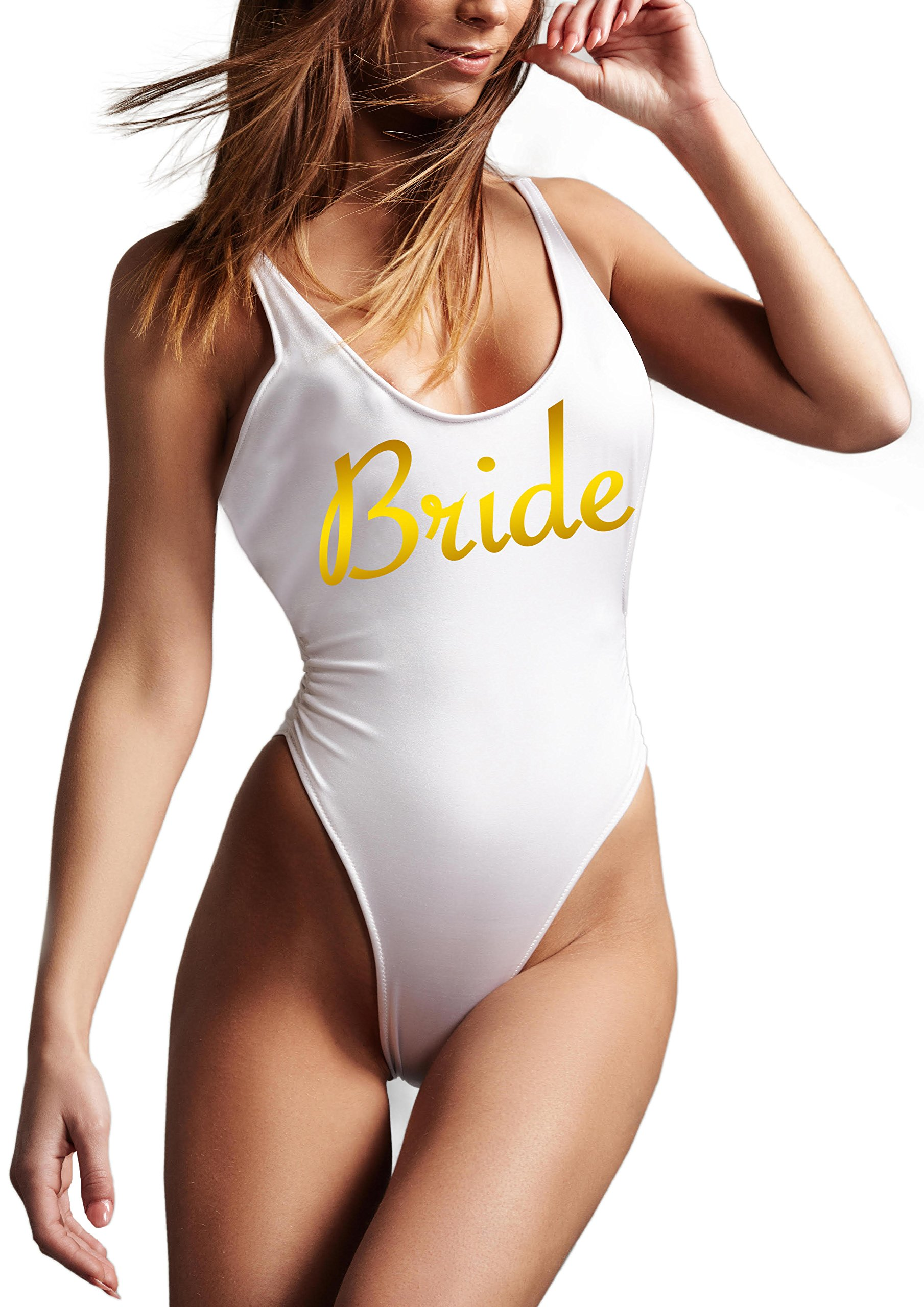 One Piece Swimsuit - High Cut Low Back Bride Squad Swimsuit Bachelorette Party Bridal Shower Wedding Gift (Bride, Large)