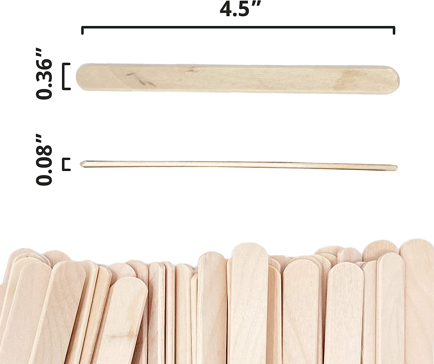 Popsicle Sticks for Crafts 4.5 Inch Wooden Sticks Smooth Epoxy Resin Stirring Splinter-Free Ice Cream Candy Making and Garden Markers Makerstep 200 Natural Wood Craft Waxing Spatulas