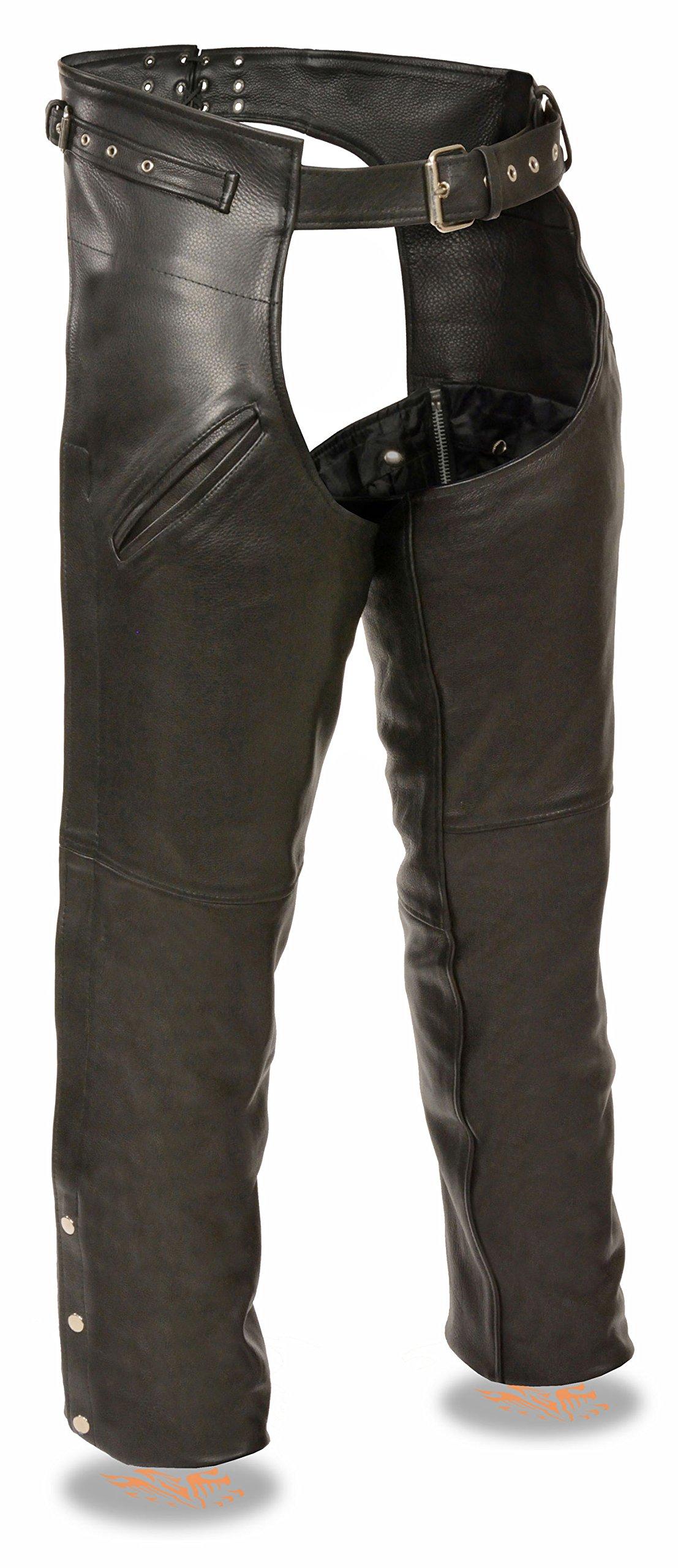 Milwaukee Leather Men's Gun Holster Leather Chap w/ Thigh Pockets (Black, 5X)