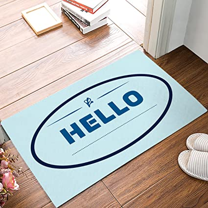 ZOE GARDEN Personalized Welcome Door Mats Inside Non Slip Washable,  Minimalistic Blue Background Oval Shape