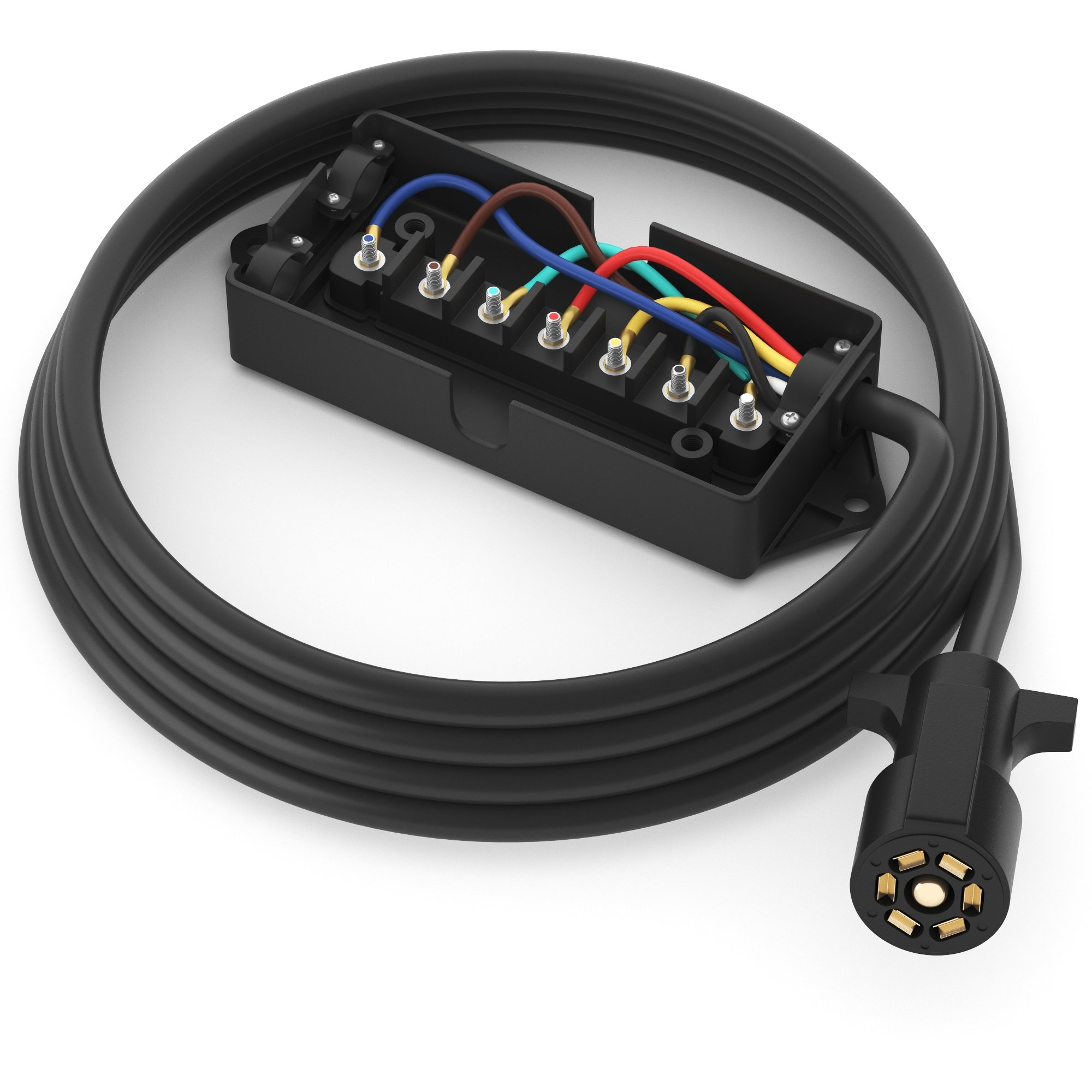 PWR+ Extra Long 7 Way Wire Harness Light Plug Inline Trailer Cord with 7 Gang Junction Box - Heavy Duty Weatherproof Corrosion Resistant Double Prongs Connector