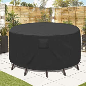 GARDRIT Upgraded Patio Furniture Covers, 100% Waterproof Round Table Chair Set Cover, 600D Heavy Duty Tear-Resistant Anti-Fading Outdoor Furniture Set Covers, 62