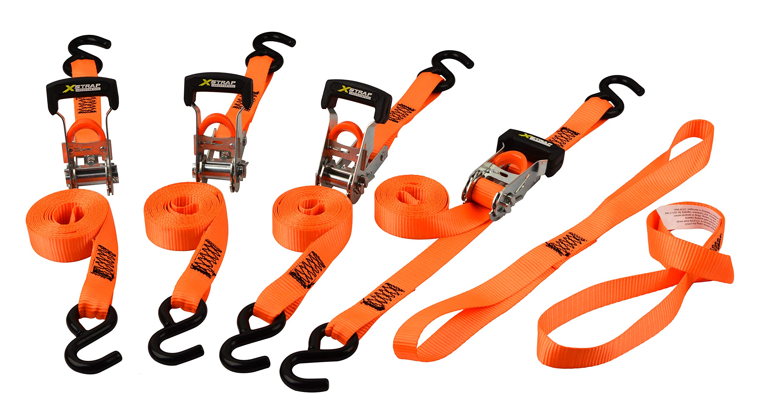 Xstrap Ratchet Tie Down Straps - 4 Pk - 10Ft- 1000 Lbs Load Cap- 3000 Lb Break Strength-Cargo Straps for Moving Appliances, Lawn with Two Soft Loops