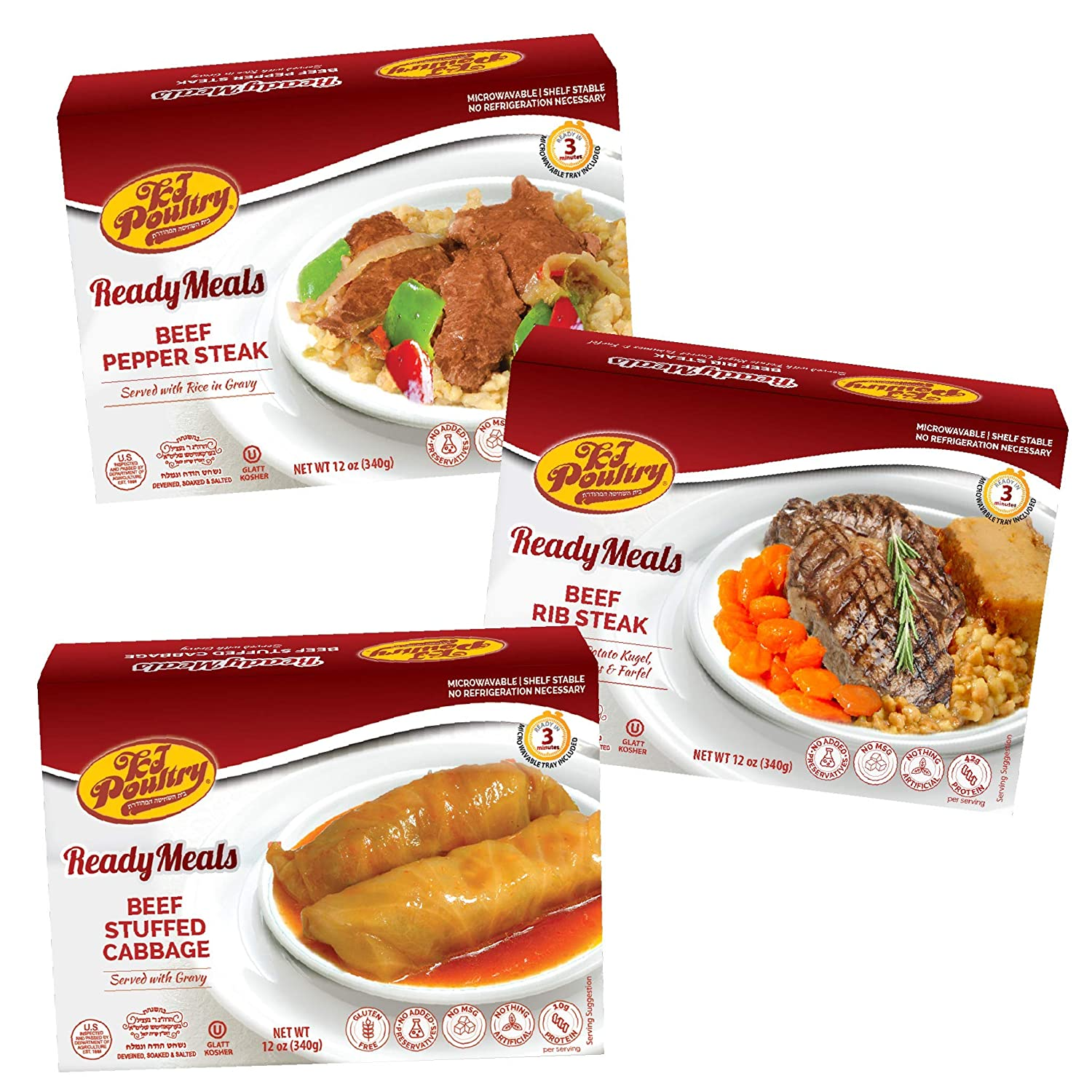 Kosher Mre Meat Meals Ready to Eat, Variety of Beef Pepper Steak, Beef Rib Steak, Stuffed Cabbage Rolls (3 Pack Bundle) - Prepared Entree Fully Cooked, Shelf Stable Microwave Dinner