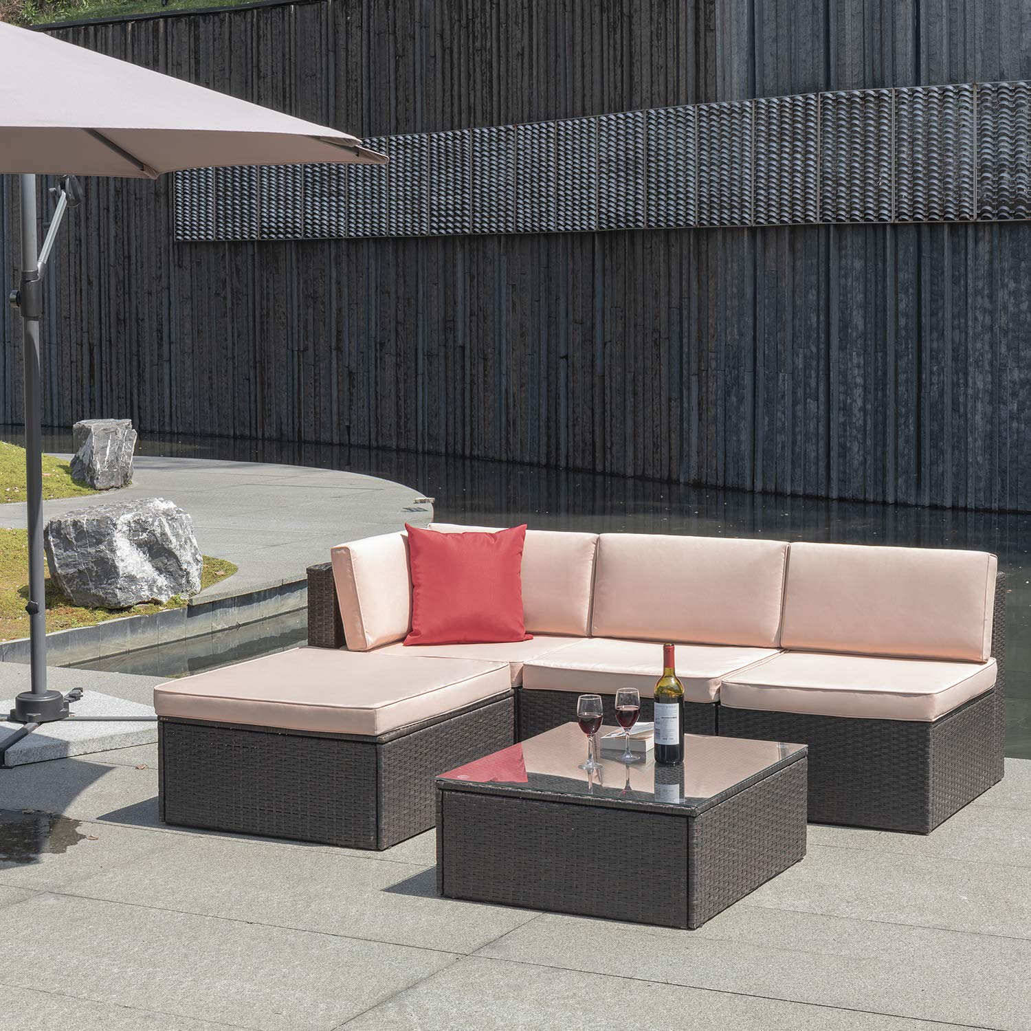 Flamaker 5 Pieces PE Rattan Sectional Sofa Outdoor Furniture Sectional  Furniture Sets Mordern Bistro Set Wicker Patio Sofa Conversation Sets with  ...