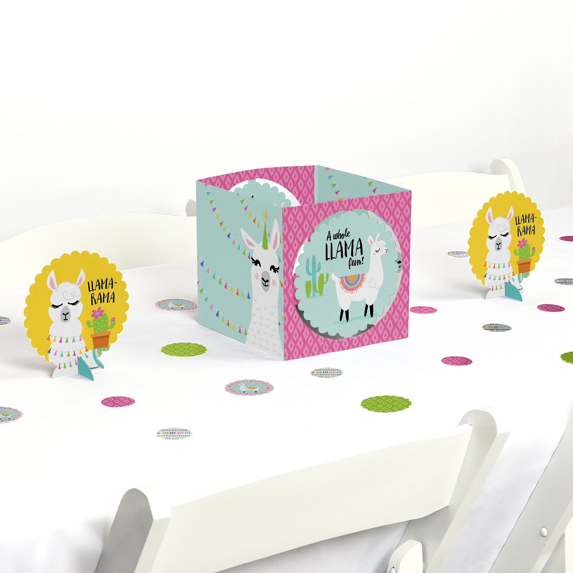 Big Dot of Happiness Whole Llama Fun - Llama Fiesta Baby Shower or Birthday Party Centerpiece & Table Decoration Kit