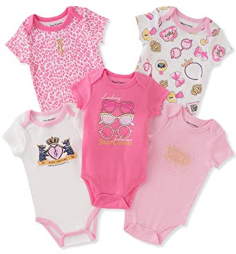 bde519b5d Juicy Couture Girls' 5 Pack Bodysuits, Silent Vanilla/Pink Hound/Romantic  Rose